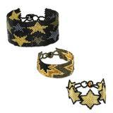 Beaded wristband bracelets, 'Stars in Gold' (set of 3)