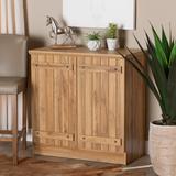 Baxton Studio Sorina Modern Farmhouse Natural Oak Brown Finished Wood 2-Door Shoe Cabinet - Wholesale Interiors PL-SC8040-Oak-Shoe Cabinet