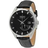 Kinetic Black Dial Black Leather Watch - Black - Seiko Watches