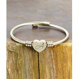 Pink Box Accessories Women's Bracelets Gold - Goldtone Heart Initial Bangle