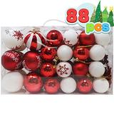 Joiedomi 88 Pcs Christmas Ornaments, Assorted Shatterproof Christmas Ornaments for Holidays, Indoor/Outdoor Party Decoration, Tree Ornaments, and Events (Red&White)