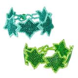 Beaded wristband bracelets, 'Star Duo in Teal and Green' (pair)