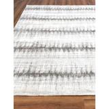 Exquisite Rugs Chroma Striped Hand-Knotted Charcoal Area Rug Silk/Wool/Bamboo Slat & Seagrass in Gray/White, Size 168.0 W x 0.4 D in | Wayfair