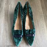 Anthropologie Shoes   Nwot Anthropologie Velvet Kitten Heel Shoes   Color: Black/Green   Size: 9.5