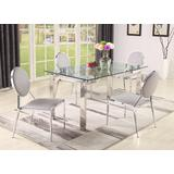 Contemporary Dining Set w/ Glass Table & Upholstered Chairs - Chintaly CRISTINA-LISA-5PC