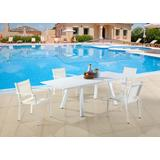 Contemporary Outdoor UV Resistant Dining Set w/ Extendable Table & LB Chairs - Chintaly MALIBU-EXT-LB-5PC