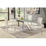 Contemporary Dining Set with Extendable Glass Table & 4 Chairs - Chintaly ARIEL-5PC