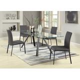 Contemporary Dining Set w/Extendable Glass Table & Curved-Back Chairs - Chintaly AIDA-5PC