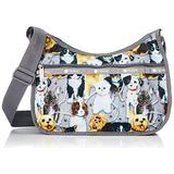 LeSportsac Puppy Park Classic Hobo Crossbody Bag + Cosmetic Bag, Style 7520/Color F758, Adorable & Colorful Puppies/Dogs, Golden Retriever, Boston Terrier, Jack Russel, Dalmatian, Yorkie + more