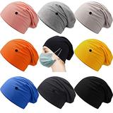 Geyoga 9 Pieces Slouchy Beanie Caps with Buttons Headwrap Bouffant Cap Elastic Sleeping Hats for Women, 9 Colors (Fresh Colors)