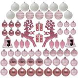 Joiedomi 66 Pcs Rose Gold Christmas Assorted Ornaments, Shatterproof Christmas Ornaments for Holidays, Party Decoration, Tree Ornaments, Events, and Christmas