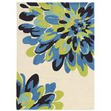 Winston Porter Marisela Floral Handmade Tufted Bloom Beige/Blue/Green Area Rug Polyester in Blue/Green/White, Size 84.0 H x 60.0 W x 1.5 D in