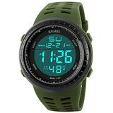 Digital Sports Watch Water Resistant Outdoor Military Watch Easy Read Black Big Face Alarm Watch (Green)