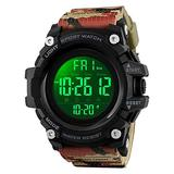 Countdown Dual Time Shock Digital Watch for Men, Waterproof Military Watch with LED Backlight Chronograph Alarm, Black Big Face Wrist Watch for Boys (Camouflage)