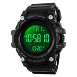 Countdown Dual Time Shock Digital Watch for Men, Waterproof Military Watch with LED Backlight Chronograph Alarm, Black Big Face Wrist Watch for Boys (Black)
