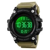 Countdown Dual Time Shock Digital Watch for Men, Waterproof Military Watch with LED Backlight Chronograph Alarm, Black Big Face Wrist Watch for Boys (Khaki)