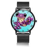 Customized Cartoon Frog Wrist Watch, Black Steel Watch Band Black Dial Plate Fashionable Wrist Watch for Women or Men
