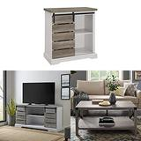 Walker Edison Furniture Company Modern Farmhouse Buffet Sideboard Kitchen Dining Storage Cabinet with Sliding Slat Door TV Console and Metal and Wood Rectangle Accent Coffee Table