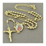 Holiday Gift Gift Set Personalized Jewelry Womens Mens Cross Pendant Necklaces Gold Color Rosary Pray Beads Blessed Mary Cross Necklace 3MM Holiday Gift (Metal Color : Gold Color)