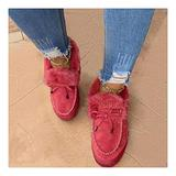 GMRZ Casual Fashion Flat Boots for Women, Platform Boots Corashoes Warm Winter Durable Shoes Kandylane Snow Boots Suede Flat Loafer Shoes Comfortable Anti-Slip Ankle Boots,Red,US:11