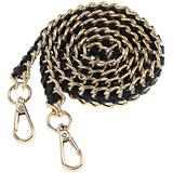 Glamorstar Gold Purse Chain Strap Vintage Woven Leather Replacement Chain Straps for Crossbody Bags Shoulder Handbag Satchels Wallets Black 120cm/47in