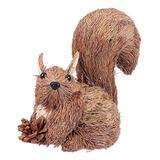 PRETYZOOM Squirrel Figurine Handmade Straw Weaving Woodland Animal Collection Statue Garden Sculpture Tabletop Ornament for Christmas Harvest Thanksgiving Party Gift
