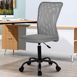 Home Office Chair Computer Chair Desk Chair Mid Back Mesh Chair Height Adjustable Small Office Chair, Modern Task Chair No Armrest Cheap Rolling Swivel Chair Student Office Chair with Wheels,Grey