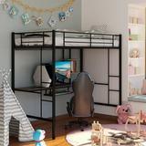 Twin Loft Bed w/ Built-in-Desk by Mason & Marbles Wood/Metal in Black/Brown/Green, Size 78.0 W x 41.5 D in   Wayfair