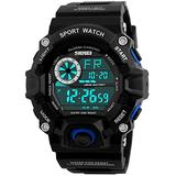 Men's Digital 50M Waterproof Electronic Sport Watch Rubber Band Army Military 24H Time LED Light 164FT Water Resistant Calendar Date Day Watches (E Blue)