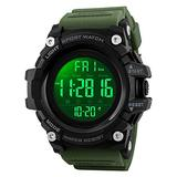 Countdown Dual Time Shock Digital Watch for Men, Waterproof Military Watch with LED Backlight Chronograph Alarm, Black Big Face Wrist Watch for Boys (ArmyGreen)