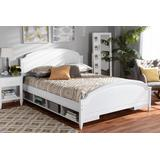 Baxton Studio Elise Classic & Traditional Transitional White Finished Wood Queen Size Storage Platform Bed - Wholesale Interiors MG0038-White-Queen