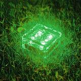 WUERLIN Solar Garden Lights Outdoor, Glass Brick Ice Cube Solar Powered Outdoor Lights Waterproof Landscape Lighting for Pathway Walkway Patio Yard & Lawn (Green)