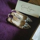 Jessica Simpson Shoes | Brand New Jessica Simpson Snakeskin Print Flats | Color: Black/White | Size: 8