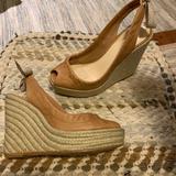 Coach Shoes | Coach Espadrilles. Leather. Peep Toe. Platform. | Color: Tan | Size: 5.5