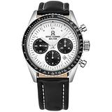 Revue Thommen Men's 17000.6532 'Aviator' Silver Dial Leather Strap Chronograph Automatic Watch