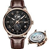 Brown Leather Strap Watches for Mens Mechanical Chronograph Wrist Watches Black Moon Phase Dial Waterproof Luminous Date JSDUN Brand Watches for Male