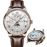 Brown Leather Strap Watches for Mens Mechanical Chronograph Wrist Watches Moon Phase White Dial Waterproof Luminous Date JSDUN Brand Automatic Self Winding Watches for Male