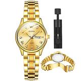 Gold Watches for Women Stainless Steel Fashion Luxury Women's Wrist Watches with Day and Date OLEVS Watch Small Face Quartz 14k Gold Tone Ladies Watches Dress Female Wristwatch,reloj de Mujer