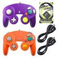 areme 2 Packungen Game Cube Controller mit 2 Extension Kabel und 128 MB Speicherkarte für Nintendo Wii Gamecube GC Konsole Purple+Orange