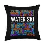 Waterskiing Tees Water Words Lover Waterski Love Gifts Skiing Throw Pillow, 18x18, Multicolor