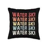Waterskiing Tees Co Retro Water Lover Waterski Love Gifts Skiing Throw Pillow, 16x16, Multicolor