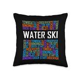 Waterskiing Tees Water Words Lover Waterski Love Gifts Skiing Throw Pillow, 16x16, Multicolor