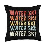 Waterskiing Tees Co Retro Water Lover Waterski Love Gifts Skiing Throw Pillow, 18x18, Multicolor