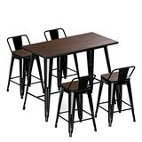 """VIPEK 24"""" Counter Height Bar Stools 35.43"""" Height Bar Table Set with Solid Elm Wood Top Backrest Heavy Duty Dining Sets 4pcs Chair for Farmhouse Bar Patio Pub Restaurant Bistro Kitchen, Gloss Black"""