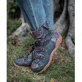 ZILVER Women's Casual boots Grey - Gray & Blue Geometric Ankle Boot - Women