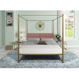 Metal Canopy Queen Bed Frame,Platform Bed Frame Queen with Four Poster Upholstered Headboard,Strong Steel Mattress Support,No Box Spring Needed (Brass)