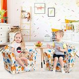 ARLIME Kids Sofa, Children Armrest Upholstered Chair with Cute Pattern, Toddler Children Wood Construction Armchair for Boys Girls, Child Furniture for Ages 3-7 (Elephant)