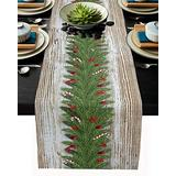 Christmas Garland Table Runner-Cotton Linen-Farmhouse Xmas Dinner Scarf Décor,Long 108 Inch Holiday Winter Dresser Scarves,Berry Pine Branch Rustic Kitchen Coffee/Dining Home Living Room Tablerunner