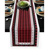 Christmas Table Runner-Red Black Buffalo Plaid Check-Cotton Linen-Winter Dinner Scarf Décor,Long 90 Inch Holiday Reindeer Tree Dresser Scarves,Xmas Kitchen Coffee/Dining Home Living Room Tablerunner