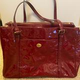 Coach Bags   Coach Peyton Op Art Sig C Patent Jordan Carryall   Color: Red   Size: Os